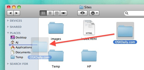 Add Folders to Finder Sidebar in Mac OS X