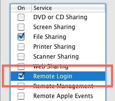 Enable remote login and SSH in Mac OS X