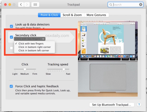 How to enable a right-click on MacBook laptops