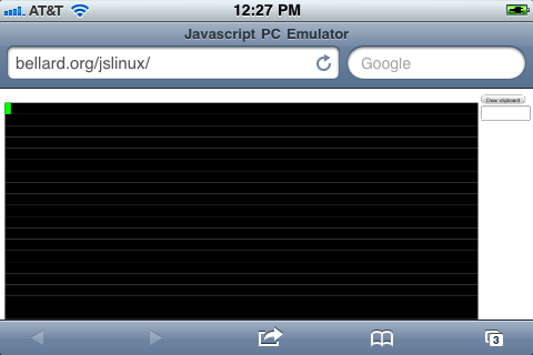 JSLinux on the iPhone 3G