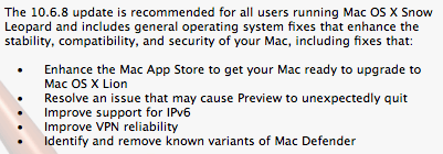 Mac OS X 10.6.8 Developer Notes