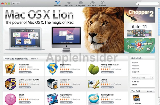 Mac OS X Lion through the Mac App Store