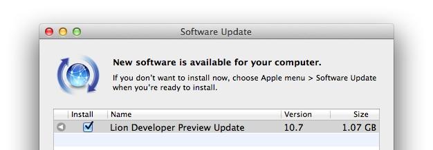 Mac OS X Lion Developer Preview 3 Software Update