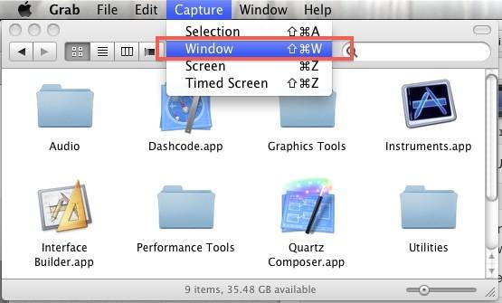 No shadow screenshot using Grab in Mac OS X