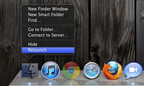 Relaunch Finder from Mac OS X