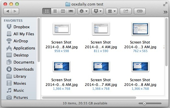 Show image dimensions under files in Mac OS X