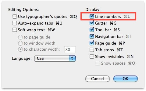 Show Line Numbers in TextWrangler