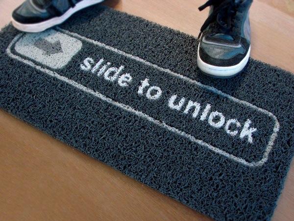 Slide to Unlock iOS Doormat - Black