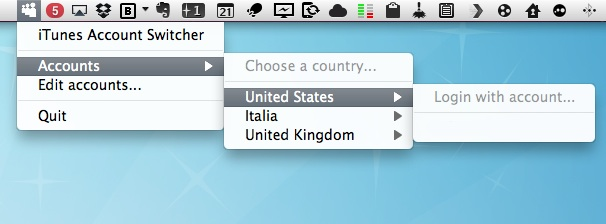 Switch iTunes Accounts easily with a menu bar utility
