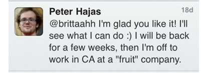 Fruit Company tweet Peter Hajas