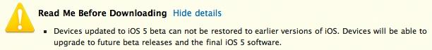 Apple warning iOS 5