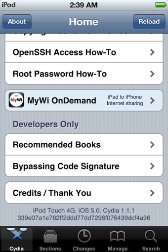 Cydia on jailbroken iPod touch with iOS 5