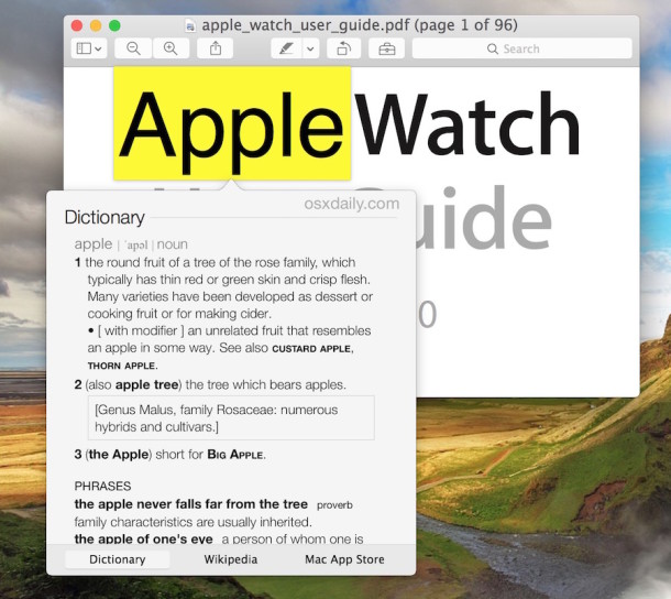 Define words in Mac OS X with a tap trick