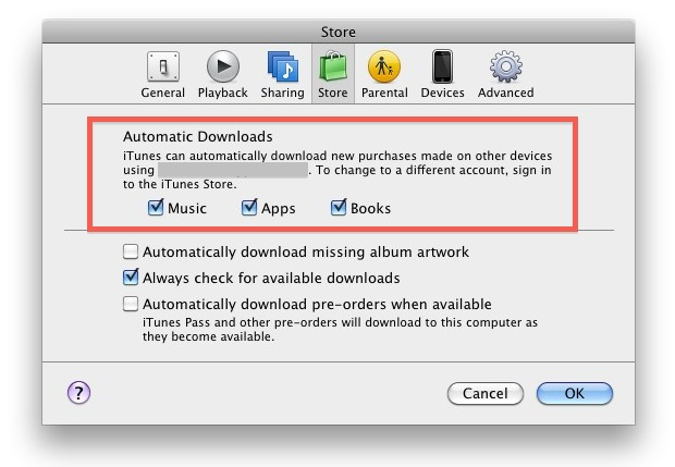 Enable iTunes Automatic Downloads