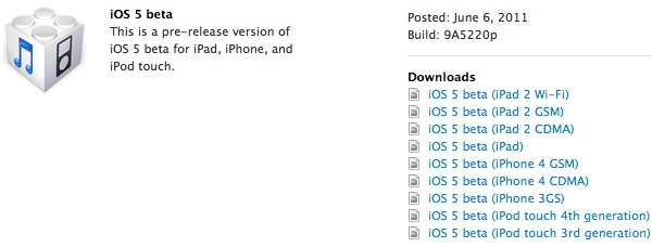 iOS 5 Beta 1 Download on Dev Center