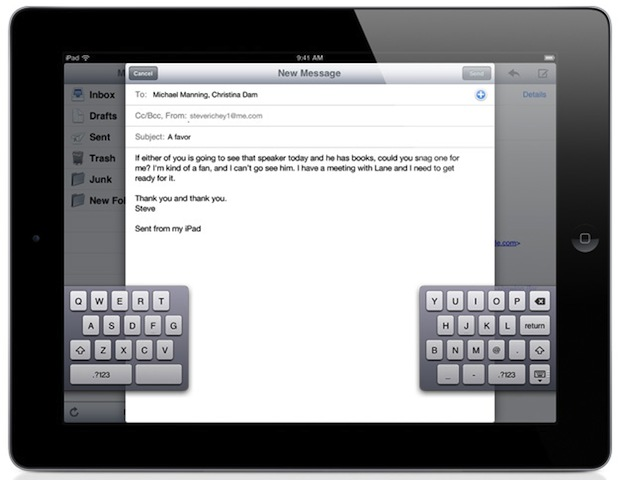 iOS 5 split keyboard for iPad