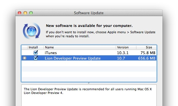 Lion Developer Preview Software Update 5