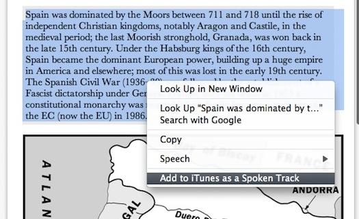 OS X Lion text to speech audio file