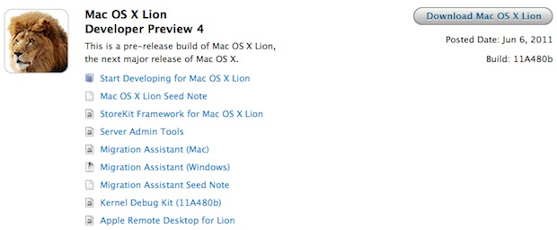 Mac OS X Lion Developer Preview 4 now available to download from Apple