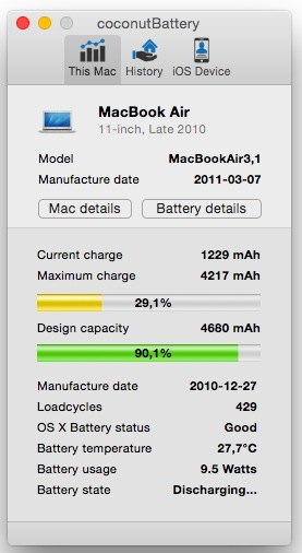 MacBook battery cycle count in coconut battery