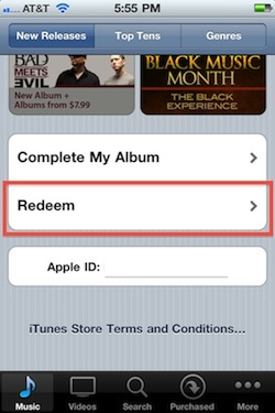 Redeem iTunes Gift Cards on the iPhone