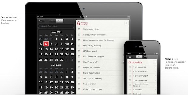 Reminders app in iOS 5