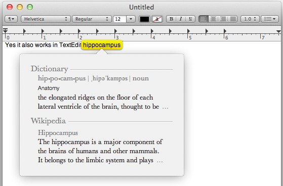 Three Fingered tap shows a dictionary in Mac OS X Lion