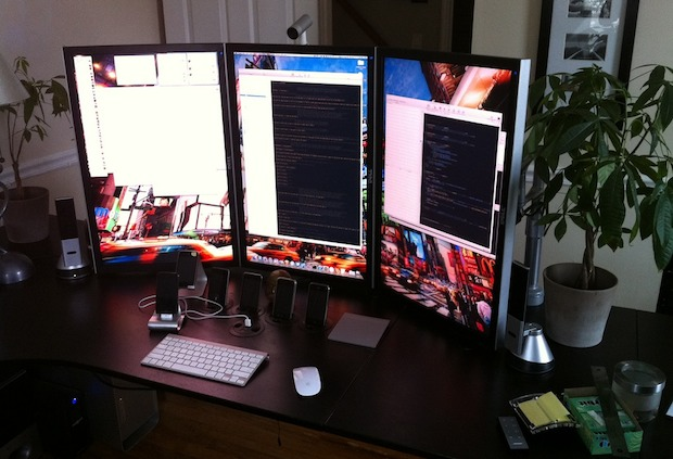 3 Portrait rotated monitors with a Mac Pro