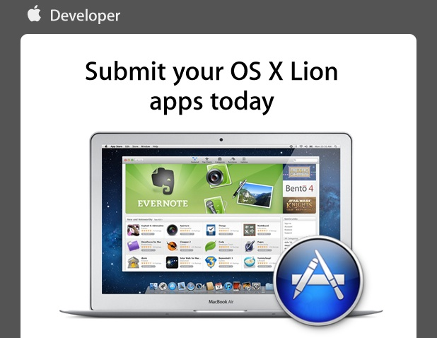 Apple email asks Developers to submit Lion apps