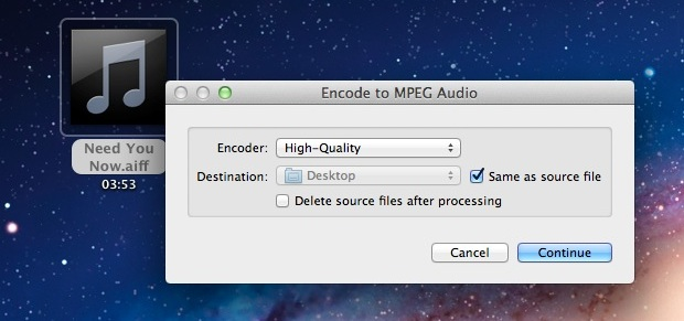 Convert Audio to M4A in Mac OS X
