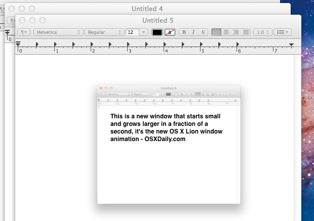 The New Window Animation in Mac OS X can be disabled