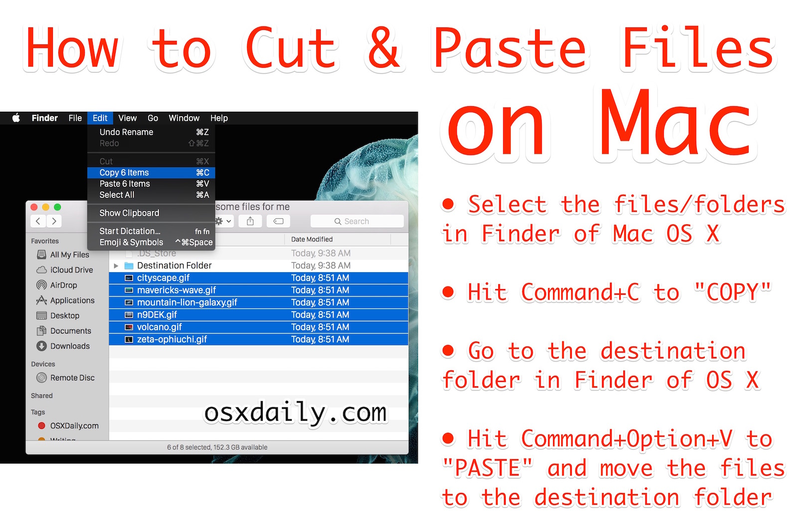 How to cut and paste files in Mac OS X