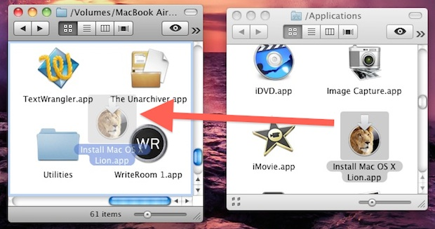 Install Lion on other Macs by copying the Installation file