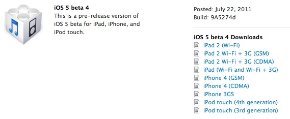 iOS 5 Beta 4 downloads on the iOS Dev Center
