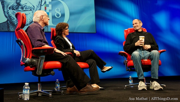 Kara Swisher, Walt Mossberg, and Steve Jobs