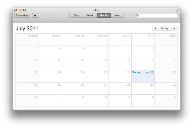 OS X Lion iCal replaced with Aluminum interface