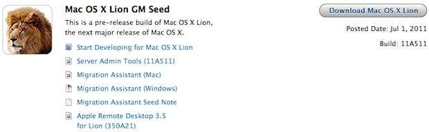 Mac OS X 10.7 Lion GM build
