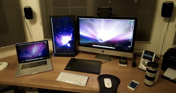 Mac setup of a MacBook Pro, external display, and iMac 27
