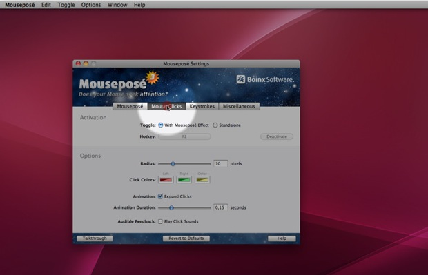 Mousepose makes the mouse easier to see for presentations