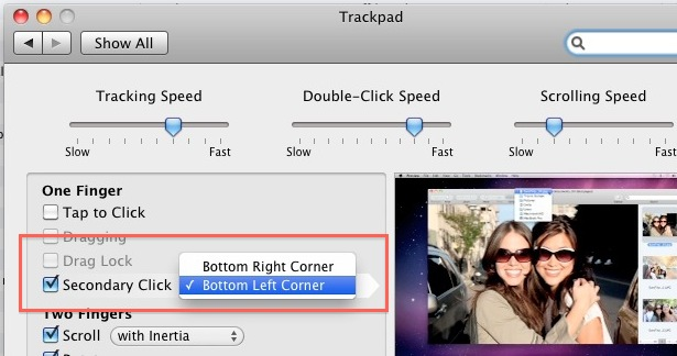 Secondary click in the left corner on a Mac