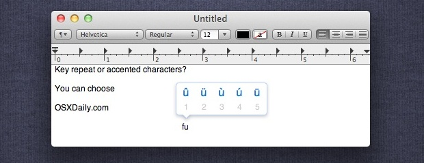 Enable Key Repeat in Mac OS X and Disable the Accented Character Pop Up