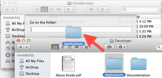 Drag and Drop in the Go To Folder dialog of OS X