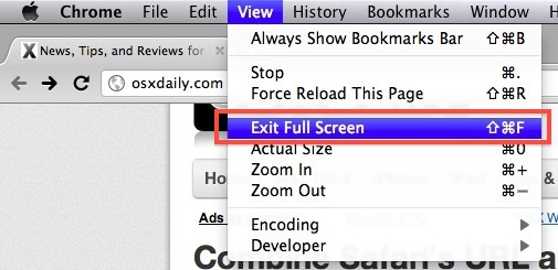 Exit full screen mode in Chrome under OS X Lion