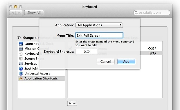 Add a Full Screen Keyboard Shortcut in Mac OS X Lion