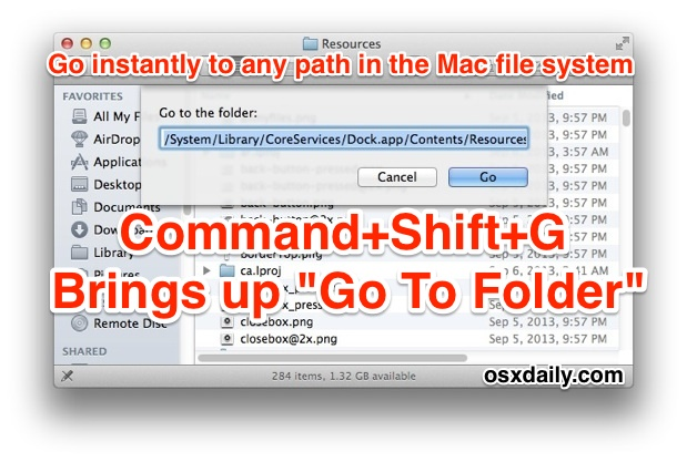 Go To Folder keystroke in Mac OS X