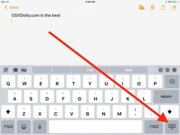 How to move the iPad keyboard