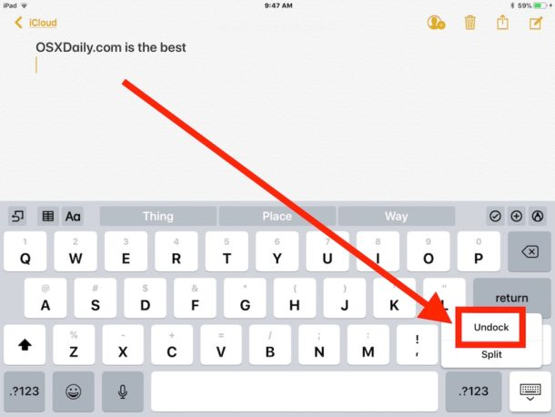 How to move the iPad keyboard on screen