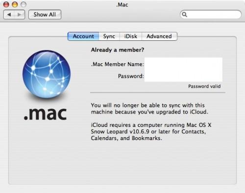 Mac OS X 10.6.9 and iCloud