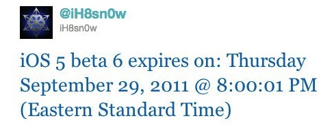 iOS 5 Beta 6 expires on September 29