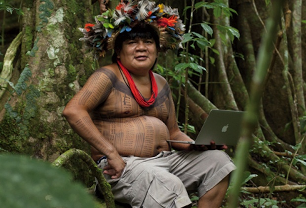 MacBook Air in the Amazon with Chief Almir